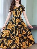hesapli Print Dresses-Kadın's Temel Kılıf Elbise - Geometrik Zıt Renkli Midi