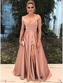 preiswerte Abendkleider-A-Linie Schulterfrei Boden-Länge Satin Formeller Abend Kleid mit durch LAN TING Express