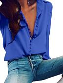 billige Bluser-Tynn V-hals Skjorte Dame - Ensfarget Grunnleggende Blå