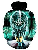 cheap Men's Hoodies & Sweatshirts-Men's Casual / Street chic Hoodie - Geometric / 3D Green US32 / UK32 / EU40