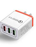 billige Kabler og Lader til mobiltelefon-30w qc 3.0 rask hurtig lader 3-port USB-hub veggladere adapter