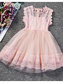 זול שמלות לילדות פרחים-גזרת A באורך  הברך שמלה לנערת הפרחים  - פוליאסטר / טול ללא שרוולים מקורזל עם תחרה על ידי LAN TING Express