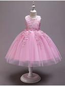 זול שמלות לילדות פרחים-נסיכה באורך  הברך שמלה לנערת הפרחים  - פוליאסטר / טול ללא שרוולים עם תכשיטים עם אפליקציות / תחרה / שכבות על ידי LAN TING Express