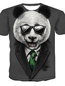 cheap Men's Tees & Tank Tops-Men's Daily Wear Plus Size T-shirt - 3D Print Round Neck Gray / Short Sleeve