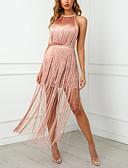 hesapli NYE Elbiseleri-Kadın's Seksi Sokak Şıklığı Kombinezon Elbise - Solid, Püskül Midi / Boyundan Bağlamalı