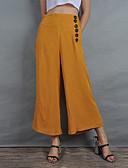 hesapli Kadın Pantolonl-Kadın's Temel / sofistike Salaş Geniş Bacak Pantolon - Solid Kırk Yama Yüksek Bel Pamuklu Sarı M L XL