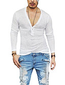 זול תחתוני גברים אקזוטיים-אחיד צווארון V סגנון רחוב טישרט - בגדי ריקוד גברים טלאים אפור כהה / שרוול ארוך