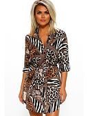 hesapli Print Dresses-Kadın's Sokak Şıklığı Zarif Kılıf Elbise - Çiçekli, Fiyonklar Bağcık Kırk Yama Asimetrik