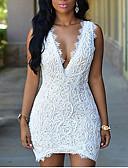 hesapli Kadın Elbiseleri-Kadın's sofistike Zarif Kılıf Elbise - Solid, Dantel Arkasız Dantel Trim Diz üstü