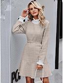 hesapli Print Dresses-Kadın's Temel Kılıf Elbise - Kareli Diz-boyu