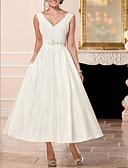 povoljno Večernje haljine-A-kroj V izrez Do gležnja Saten Izrađene su mjere za vjenčanja s Perlica po LAN TING Express