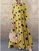 hesapli Maksi Elbiseler-Kadın's Büyük Bedenler Dışarı Çıkma Sokak Şıklığı Çan Elbise - Yuvarlak Noktalı Maksi