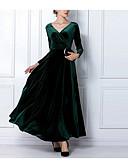 hesapli Maksi Elbiseler-Kadın's Kılıf Elbise - Solid V Yaka Diz-boyu Yüksek Bel / Büyük Bedenler / Salaş