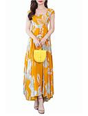 hesapli Print Dresses-Kadın's Temel A Şekilli Elbise - Geometrik Maksi
