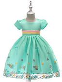 זול שמלות לילדות פרחים-נסיכה באורך  הברך שמלה לנערת הפרחים  - תערובת כותנה\פוליאסטר שרוולים קצרים עם תכשיטים עם אפליקציות על ידי LAN TING Express