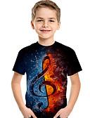 billige T-skjorter til damer-Barn Baby Gutt Aktiv Grunnleggende Geometrisk Trykt mønster Fargeblokk Trykt mønster Kortermet T-skjorte Svart