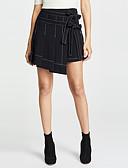 זול סטים של ביגוד לבנות-פסים - חצאיות א-סימטרי גזרת A בסיסי בגדי ריקוד נשים שחור L XL XXL
