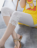 billige T-skjorter til damer-Dame Grunnleggende Tights - Ensfarget, Blonde Høy Midje Svart Rosa Grå En Størrelse