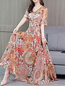 hesapli Print Dresses-Kadın's Şifon Çan Elbise - Solid, Bağcık Midi