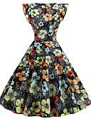 halpa Vintage-kuningatar-Naisten Vintage A-linja Mekko - Kukka, Painettu Polvipituinen