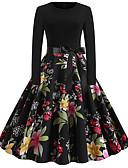billige Romantiske blonder-Dame Vintage Gatemote Lille Sort Kjole - Blomstret, Trykt mønster Midi Tropisk blad