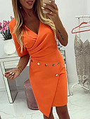 hesapli NYE Elbiseleri-Kadın's Kılıf Elbise - Solid Diz üstü