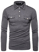 hesapli Erkek Kapşonluları ve Svetşörtleri-Erkek Keten Polo Solid Temel AB / ABD Beden Siyah / Uzun Kollu