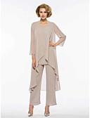 hesapli Gömlek-İki Parça / Pantsuit Taşlı Yaka Bilek Boyu Şifon Dantelalar ile Gelin Annesi Elbisesi tarafından LAN TING Express / Şal dahildir