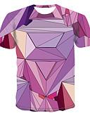 זול טישרטים לגופיות לגברים-קולור בלוק צווארון עגול בסיסי מידות גדולות טישרט - בגדי ריקוד גברים סגול / שרוולים קצרים