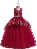 hesapli Elbiseler-Çocuklar Genç Kız Actif Tatlı Solid Dantel Kolsuz Maksi Elbise Doğal Pembe