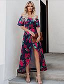hesapli Kadın Elbiseleri-Kadın's Çiçek Stil Klasik Sokak Şıklığı Kılıf Elbise - Çiçekli, Desen Düşük Omuz Maksi