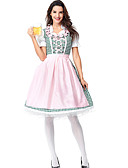hesapli Oktoberfest-Kasım Festivali Kıyafetler üstü dar altı geniş elbise Trachtenkleider Kadın's Elbise Önlük Bavyera Kostüm Doğal Pembe