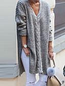 povoljno Ženski džemperi-Žene Jednobojni Dugih rukava Pullover, V izrez Crn / Sive boje L / XL / XXL