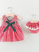 זול שמלות לתינוקות-סט של בגדים ללא שרוולים Houndstooth בנות תִינוֹק