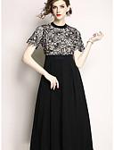 hesapli Romantik Dantel-Kadın's Temel Çin Stili A Şekilli Çan Elbise - Solid Zıt Renkli, Dantel Kırk Yama Desen Diz-boyu