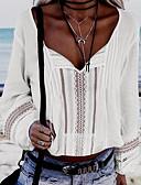 hesapli Gömlek-Kadın's V Yaka Gömlek Solid Temel Beyaz