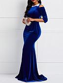 hesapli Maksi Elbiseler-Kadın's Zarif Trompet / Balık Elbise - Solid Maksi