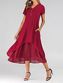 hesapli Mini Elbiseler-Kadın's Şifon Elbise - Solid Midi