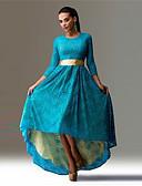 baratos Vestidos Longos-Mulheres Boho Elegante Reto balanço Vestido - Renda, Sólido Assimétrico