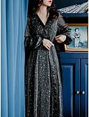 hesapli Mini Elbiseler-Kadın's Temel A Şekilli Elbise - Yuvarlak Noktalı, Payetler Maksi