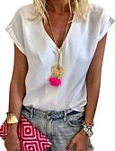 hesapli Tişört-Kadın's V Yaka Salaş - Bluz Solid Beyaz