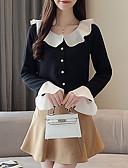 hesapli Bluz-Kadın's Gömlek Yaka Gömlek Fırfırlı / Kırk Yama, Solid Temel Siyah