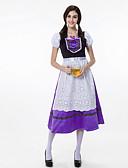 hesapli Oktoberfest-Kasım Festivali üstü dar altı geniş elbise Trachtenkleider Kadın's Elbise Bavyera Kostüm Açık Mor