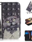 hesapli Cep Telefonu Kılıfları-google piksel 3a xl / google piksel 3a cüzdan / kart sahibinin / darbeye dayanıklı tam vücut kılıfları kedi pu deri