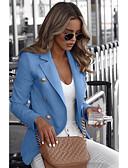 hesapli Kadın Kabanları ve Trençkotları-Kadın's Günlük Normal Blazer, Solid Gömlek Yaka Uzun Kollu Polyester Siyah / Beyaz / Havuz S / M / L