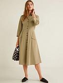 hesapli Print Dresses-Kadın's Gömlek Elbise - Solid Diz-boyu