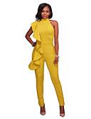 hesapli Kadın Tulumları-Kadın's Siyah Beyaz Sarı Tulumlar, Solid S M L