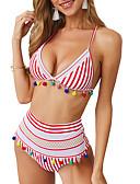hesapli Bikiniler ve Mayolar-Kadın's Beyaz Doğal Pembe Tankini Mayolar - Çizgili Hayvan S M L Beyaz