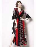 hesapli Vintage Kraliçesi-Kadın's Temel Kılıf Elbise - Zıt Renkli Diz-boyu