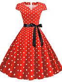 halpa Vintage-kuningatar-Naisten Hienostunut Tyylikäs A-linja Mekko - Polka Dot, Solmittava Reisipituinen